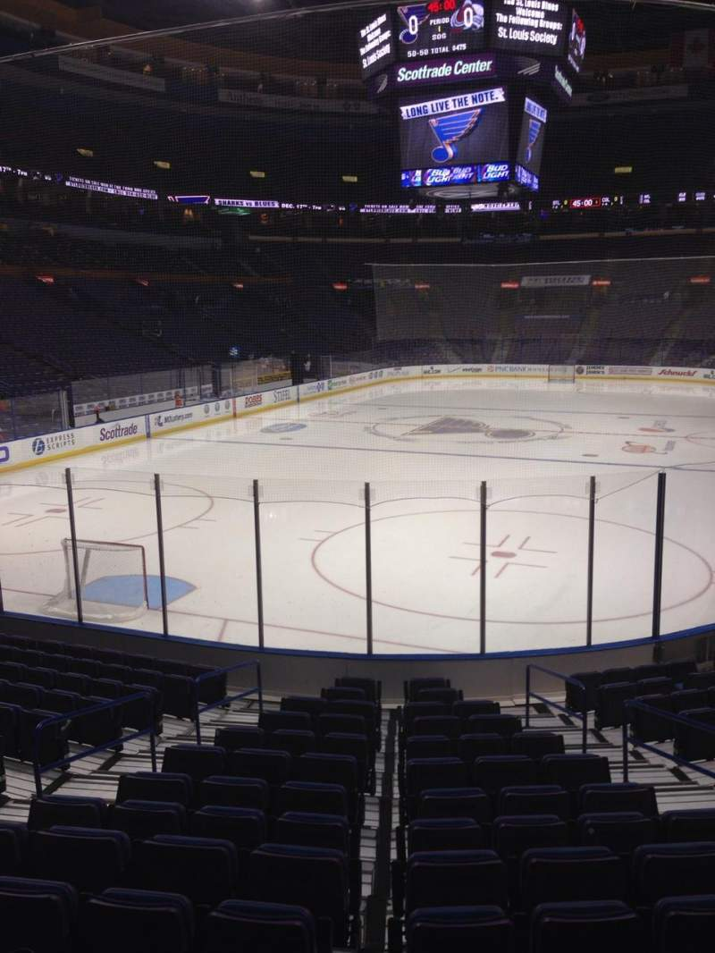Seating view for Enterprise Center Section 121 Row P Seat 5