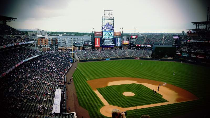 Seating view for Coors Field Section U328 Row 1 Seat 13