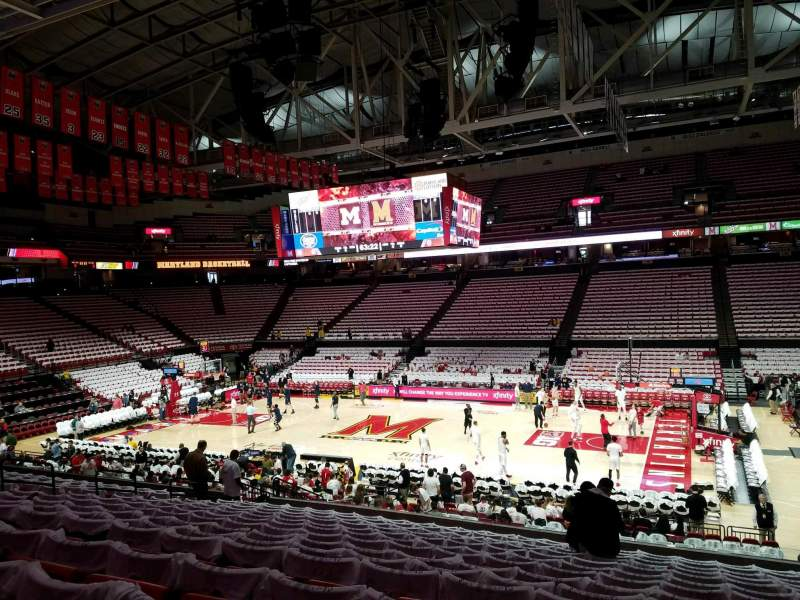 Seating view for Xfinity Center (Maryland) Section 115 Row 14 Seat 4