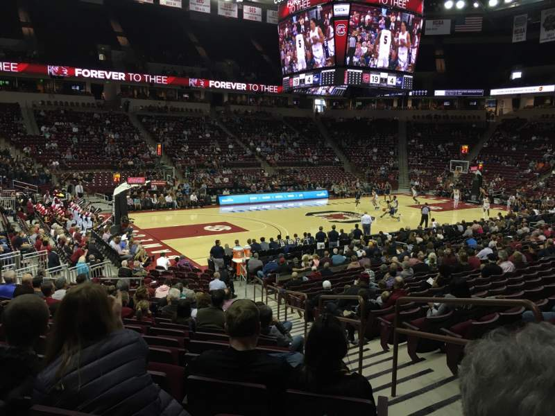 Seating view for Colonial Life Arena Section 107 Row 18 Seat 7