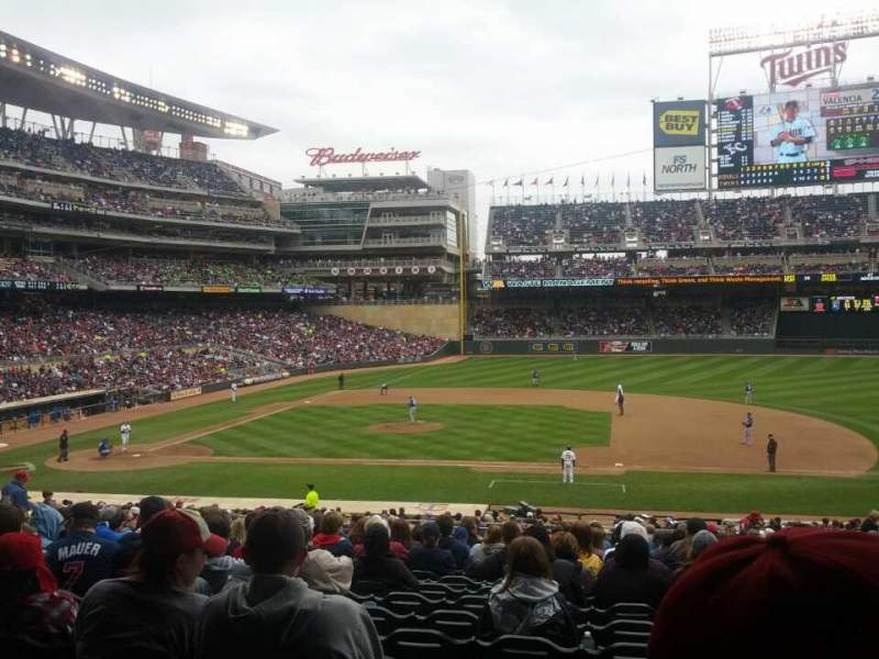 Seating view for Target Field Section 108 Row 21 Seat 11