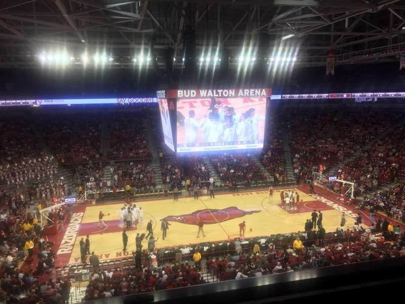 Seating view for Bud Walton Arena Section 219 Row 1 Seat 12