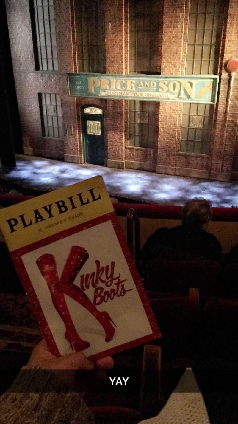 Al Hirschfeld Theatre, section: MezzRight, row: D, seat: 4