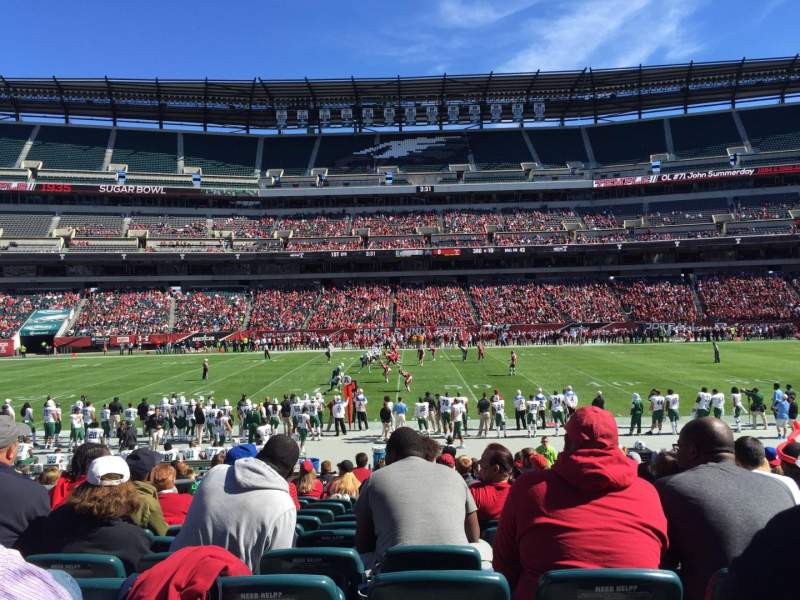 Seating view for Lincoln Financial Field Section 101 Row 18 Seat 20