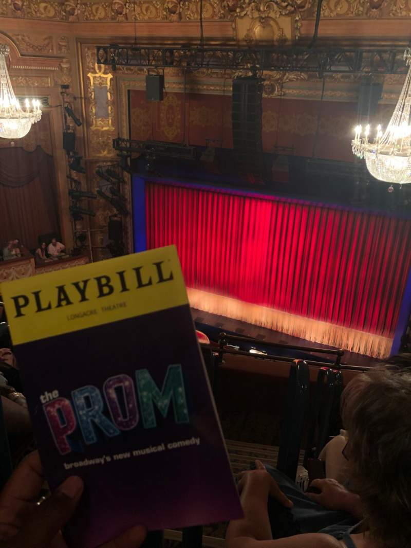 Seating view for Longacre Theatre Section Balcony R Row E Seat 1