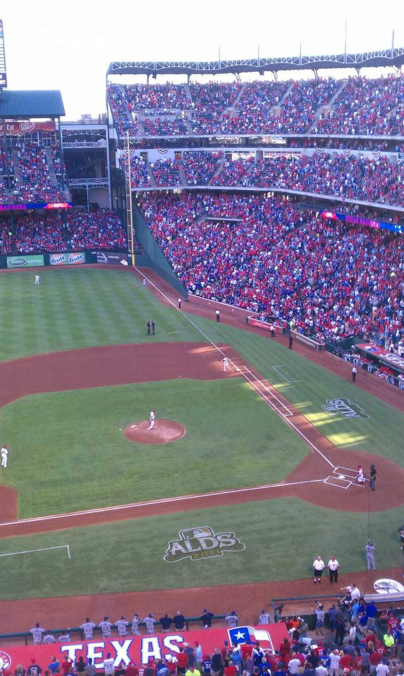 Seating view for Globe Life Park in Arlington Section 319 Row 1 Seat 13