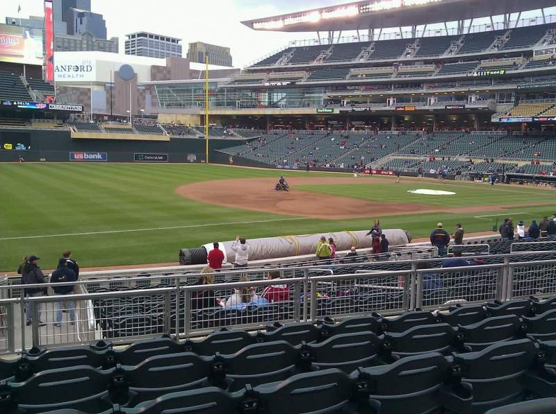 Seating view for Target Field Section 123 Row 6 Seat 13