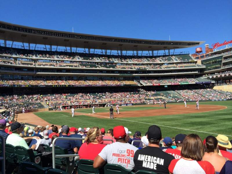 Seating view for Target Field Section 103 Row 10 Seat 20