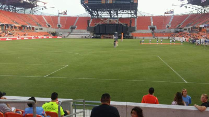 Seating view for BBVA Compass Stadium Section 114 Row g Seat 27