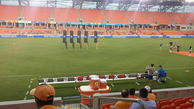 Seating view for BBVA Stadium Section 108 Row h Seat 1