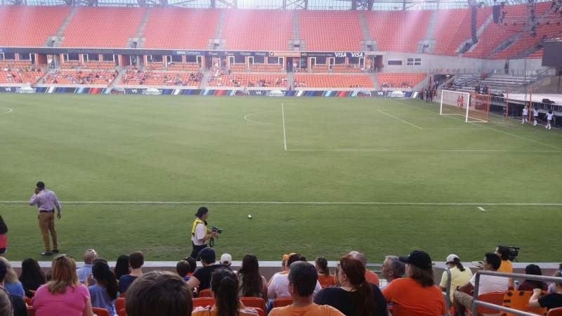 Seating view for BBVA Compass Stadium Section 104 Row k Seat 3