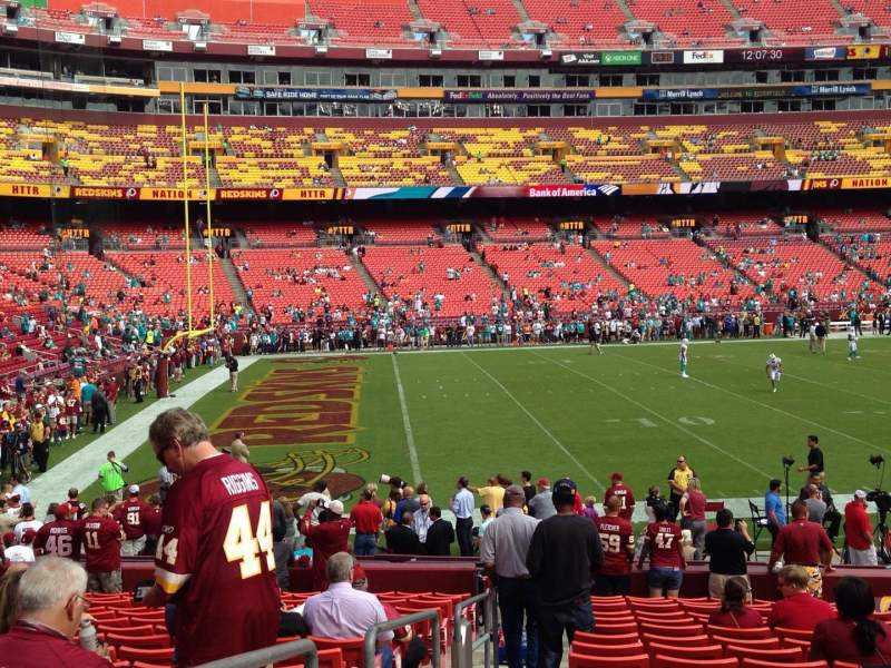 Seating view for FedEx Field Section 104 Row 17 Seat 22