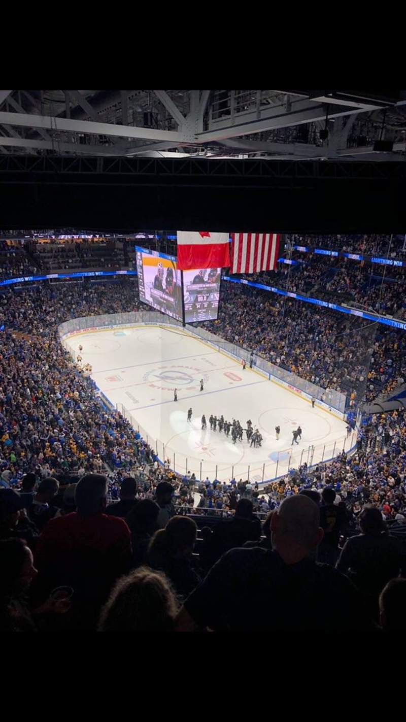 Seating view for Amalie Arena Section 326 Row P Seat 8