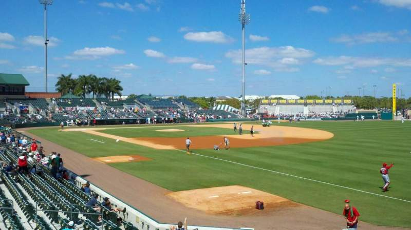 Seating view for roger dean stadium Section patio