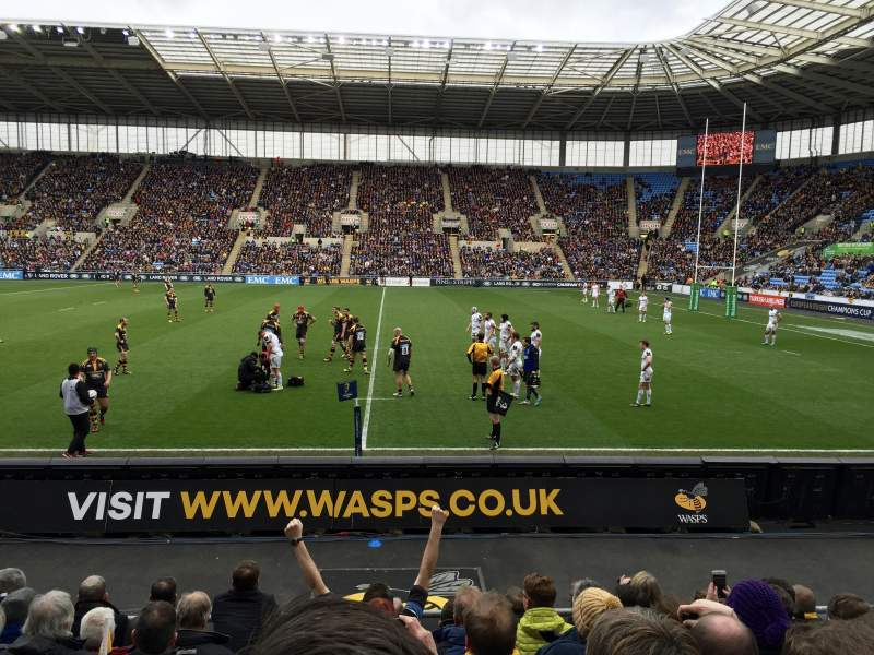 Seating view for Ricoh Arena Section 1 Row H Seat 13