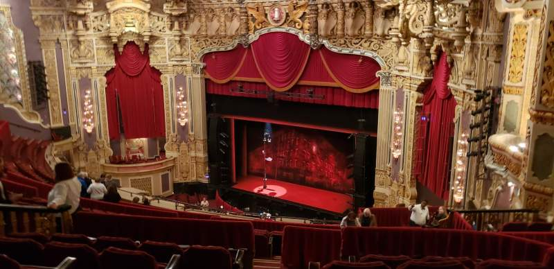 Seating view for Nederlander Theatre (Chicago) Section BALCFR Row S Seat 386