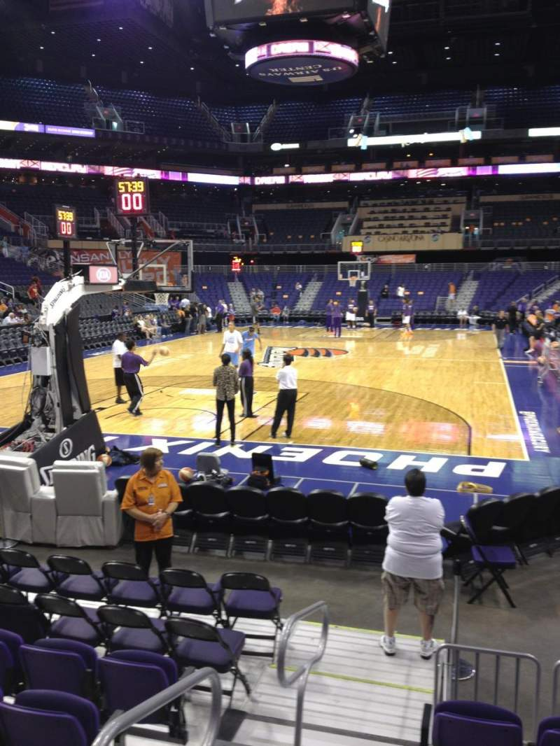 Seating view for PHX Arena Section 107 Row 6 Seat 15