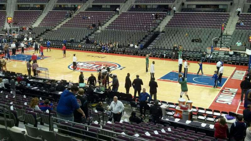 Seating view for The Palace of Auburn Hills Section 112 Row j Seat 008