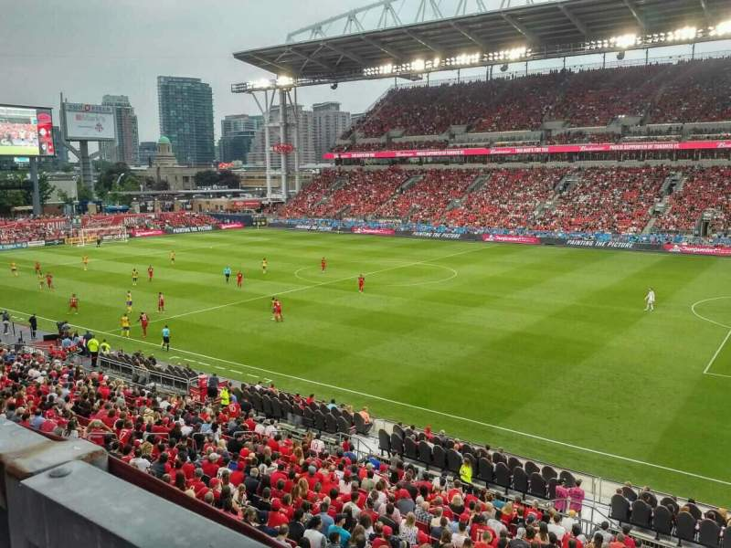 Seating view for BMO Field Section 220 Row 1 Seat 18