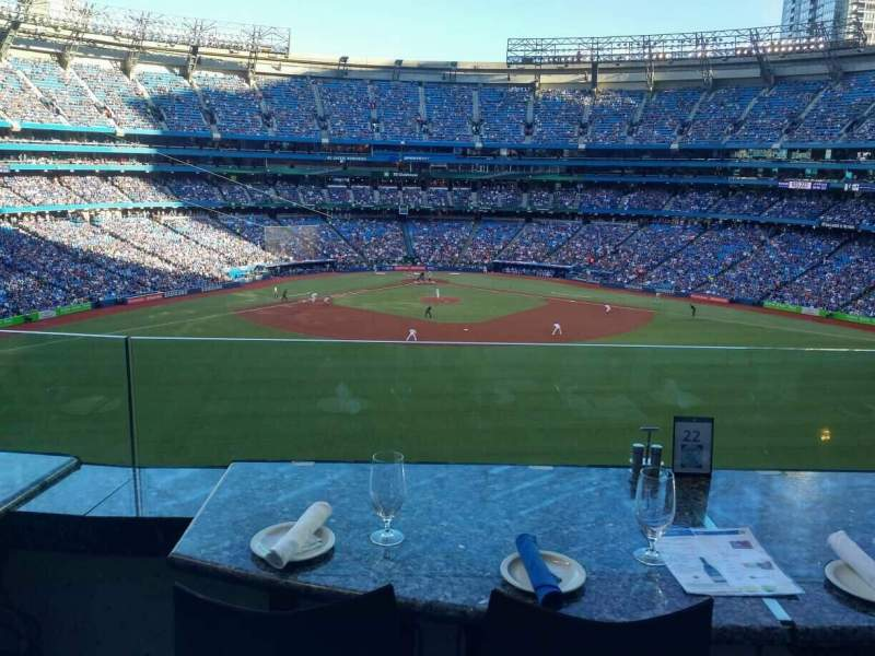 Seating view for Rogers Centre Section Sightlines Restaurant Row B Seat 36