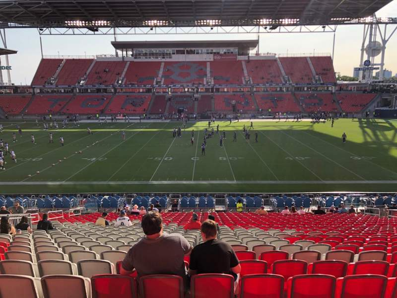Seating view for BMO Field Section 107 Row 26 Seat 17