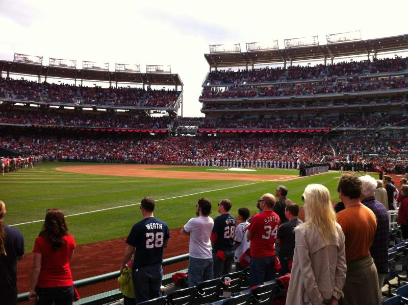 Seating view for Nationals Park Section 110 Row F Seat 1