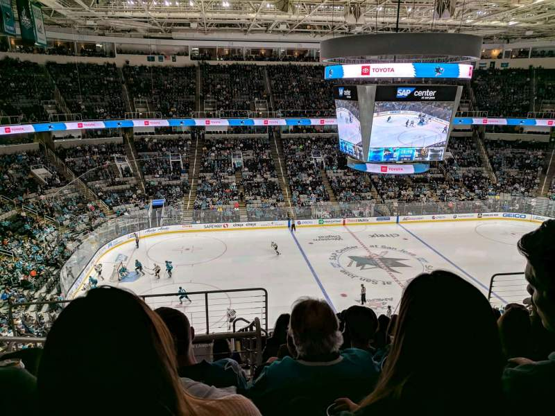 Seating view for SAP Center Section 202 Row 9 Seat 19