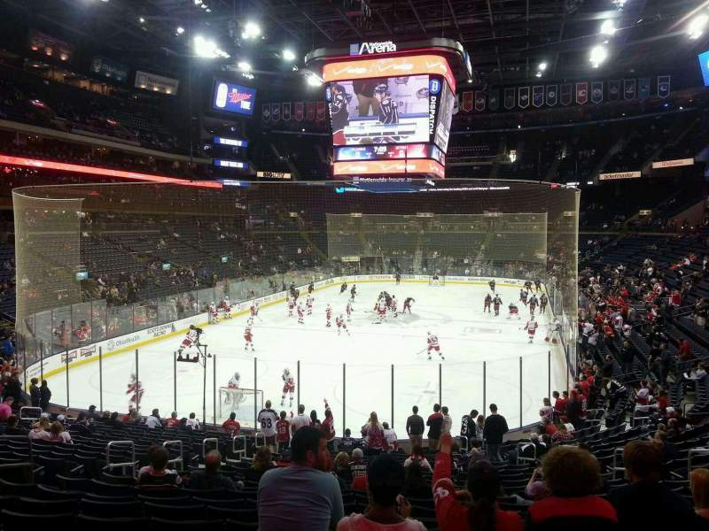 Seating view for Nationwide Arena Section 108 Row X Seat 4