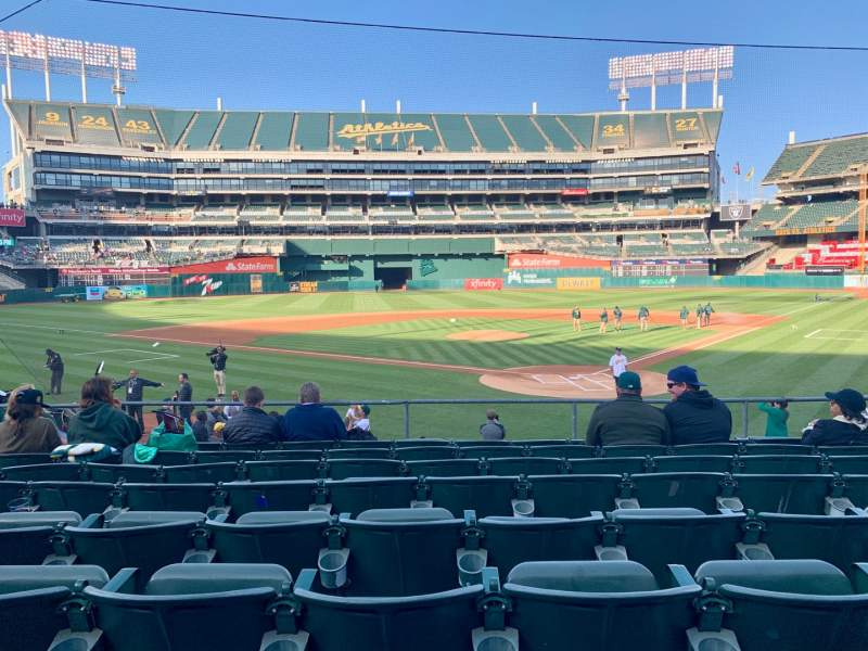 Seating view for Oakland Alameda Coliseum Section 118 Row 20 Seat 5-10