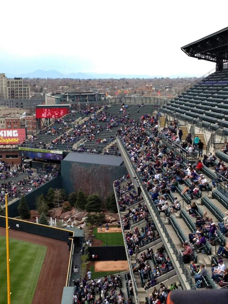 Seating view for Coors Field Section U313 Row 19 Seat 4