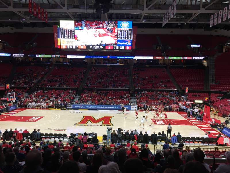 Seating view for Xfinity Center (Maryland) Section 114 Row 11 Seat 5