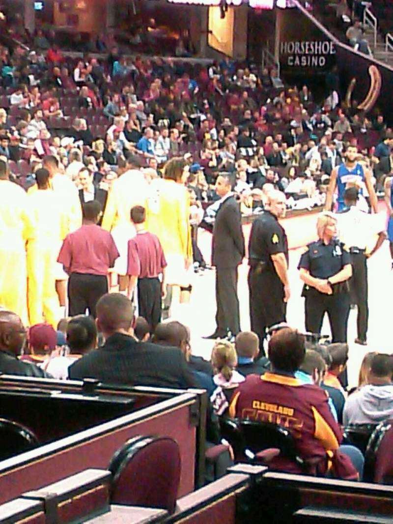 Seating view for Quicken Loans Arena Section 100 Row 3 Seat 13