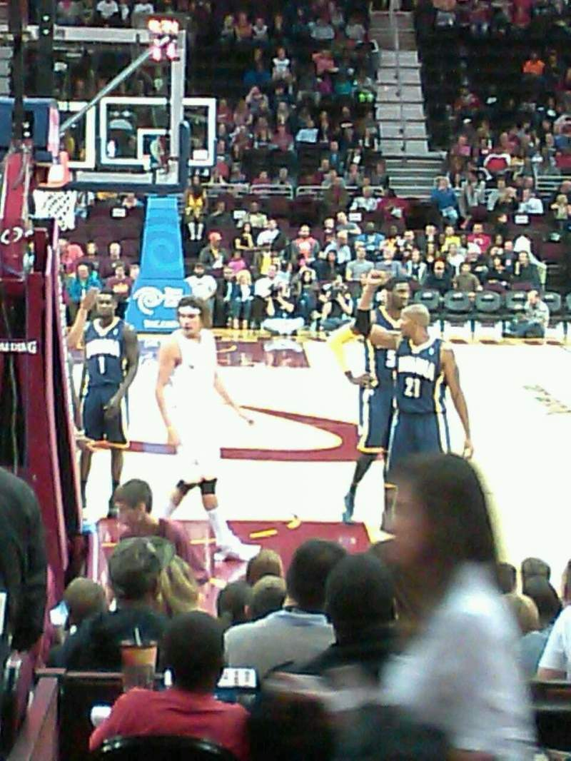Seating view for Quicken Loans Arena Section 100 Row 2 Seat 13