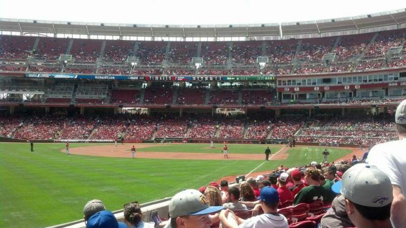 Seating view for Great American Ball Park Section 108 Row V Seat 1