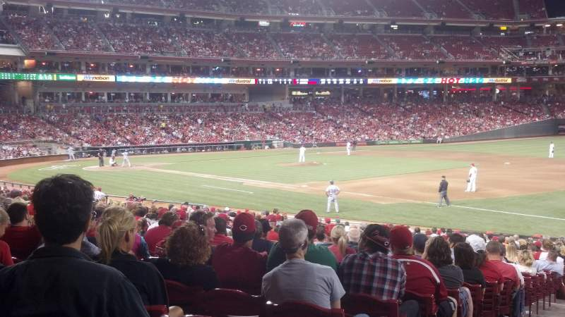 Seating view for Great American Ball Park Section 134 Row BB Seat 16
