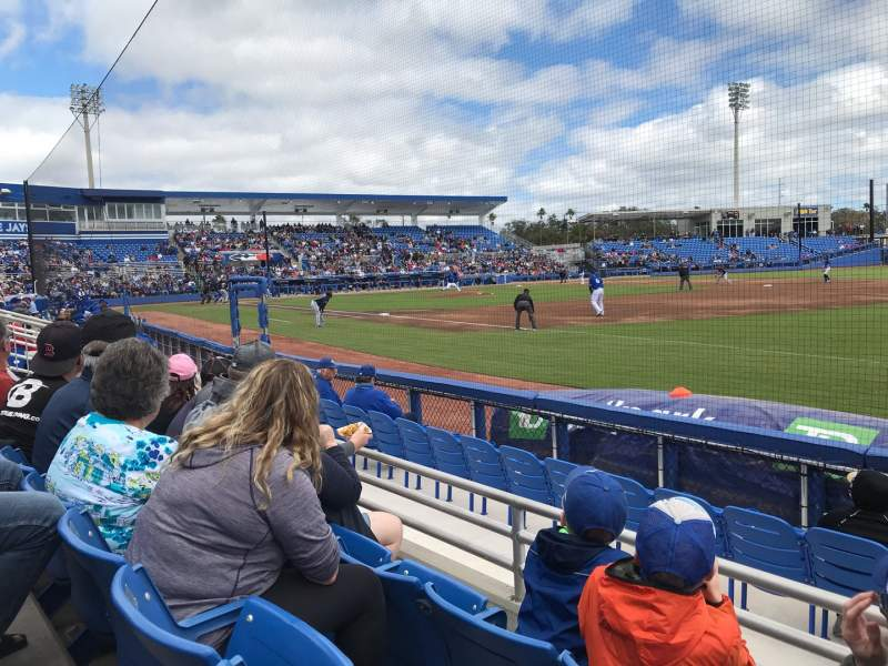 Seating view for Dunedin Stadium Section 101 Row 3 Seat 7