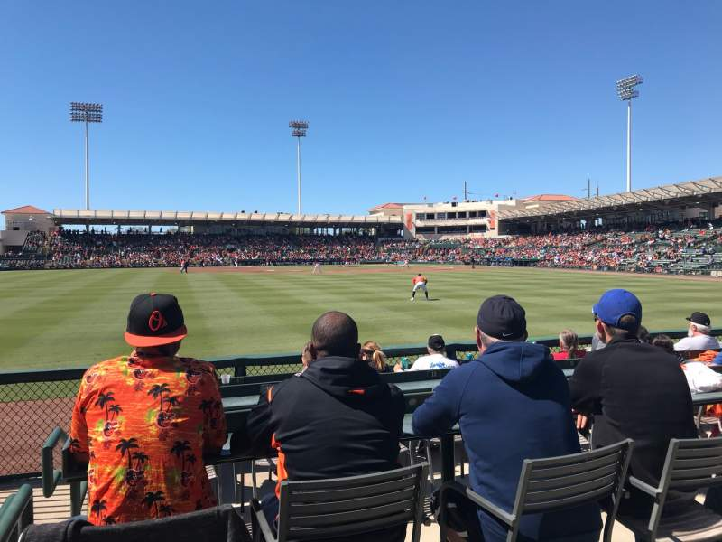 Seating view for Ed Smith Stadium Section LF Pavillion 129 Row 4 Seat 16