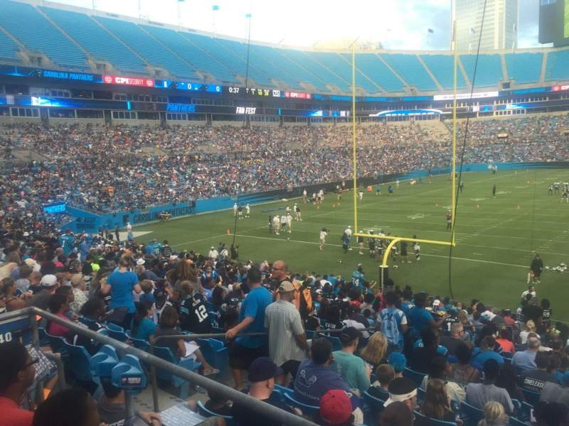 Seating view for Bank of America Stadium Section 110 Row 20 Seat 21