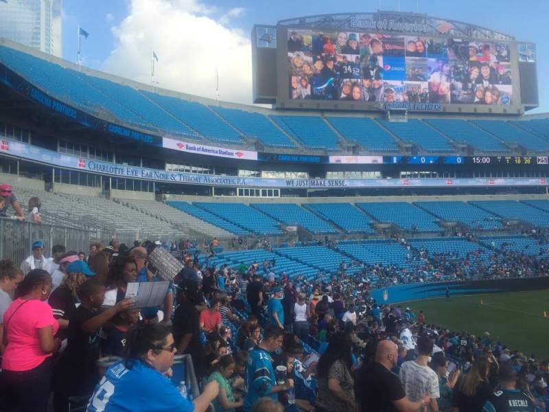 Seating view for Bank of America Stadium Section 112 Row 20 Seat 21