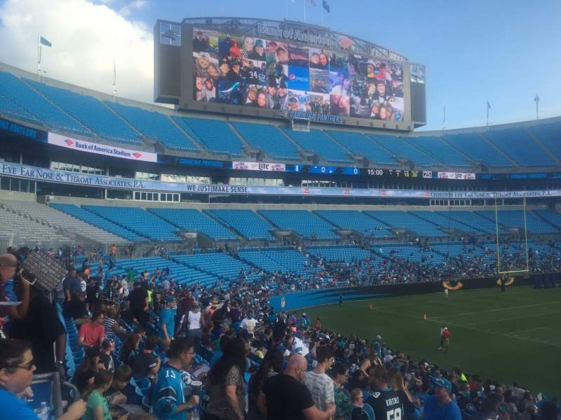Seating view for Bank of America Stadium Section 112 Row 21 Seat 20