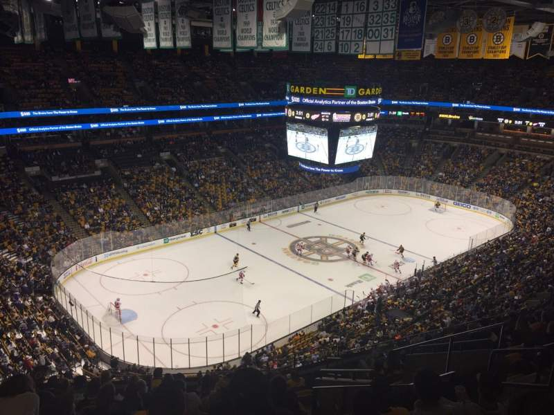 Seating view for TD Garden Section Bal 305 Row 13 Seat 8
