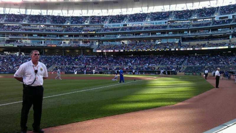 Seating view for Target Field Section 125 Row 1 Seat 16