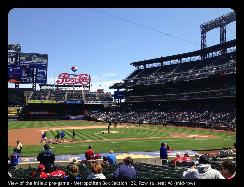 Seating view for Citi Field Section 122 Row 16 Seat 8