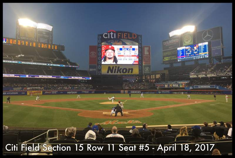 Seating view for Citi Field Section 15 Row 11 Seat 5