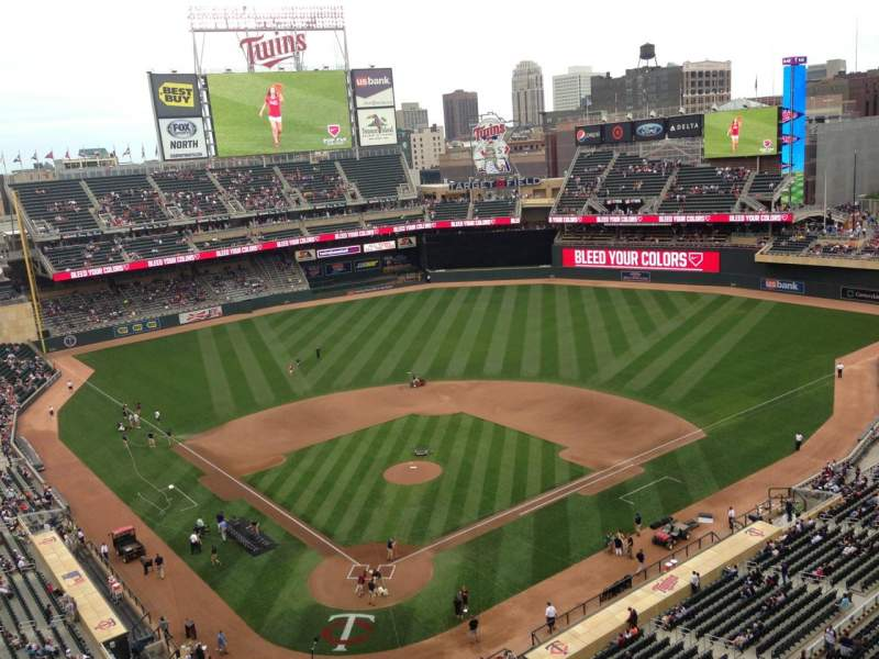 Seating view for Target Field Section 313 Row 1 Seat 7