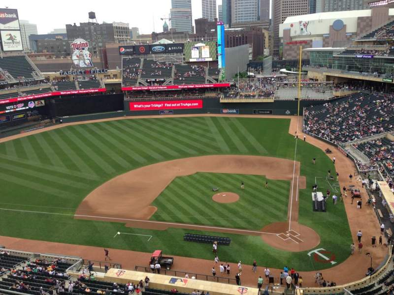 Seating view for Target Field Section 318 Row 1 Seat 14