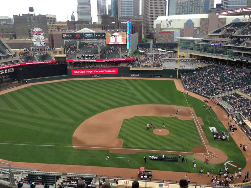 Seating view for Target Field Section 319 Row 1 Seat 18