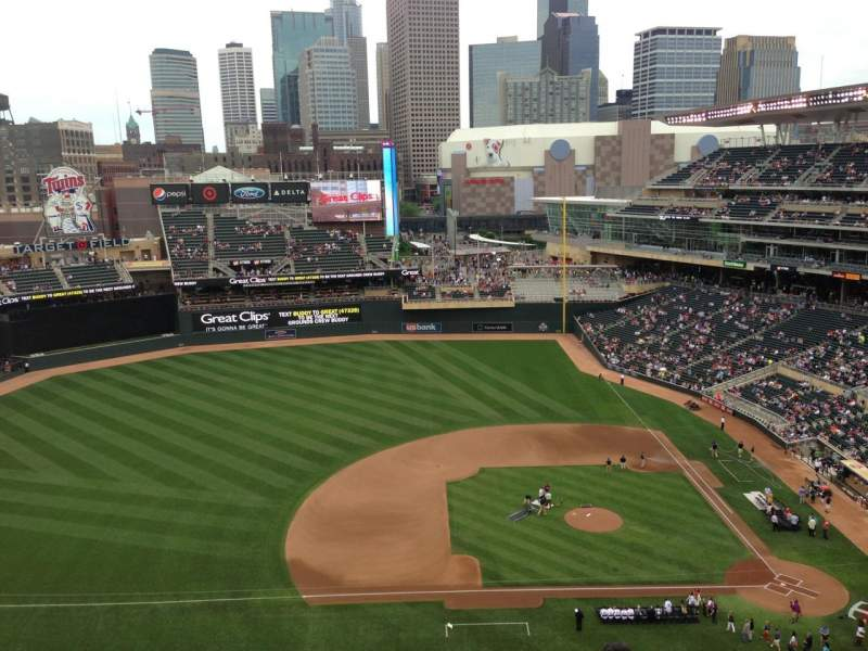 Seating view for Target Field Section 320 Row 1 Seat 14