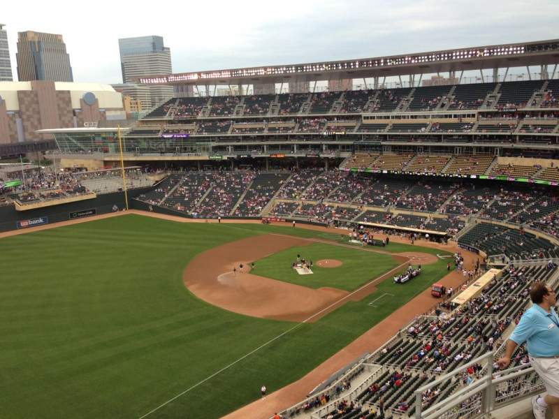 Seating view for Target Field Section 327 Row 3 Seat 1