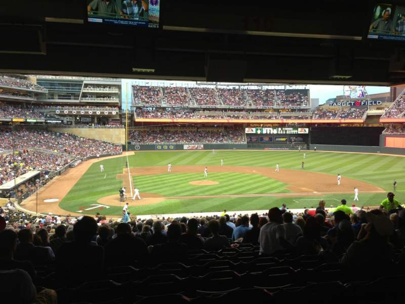 Seating view for Target Field Section 110 Row 28 Seat 16